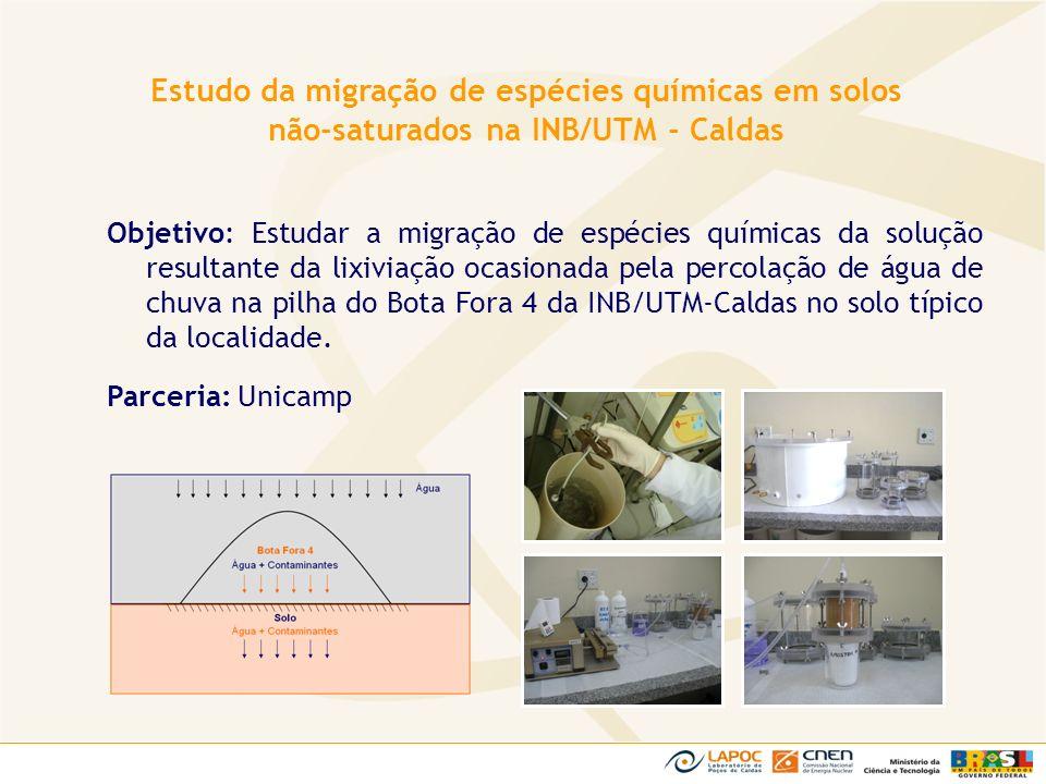 Estudo da migração de espécies químicas em solos não-saturados na INB/UTM - Caldas
