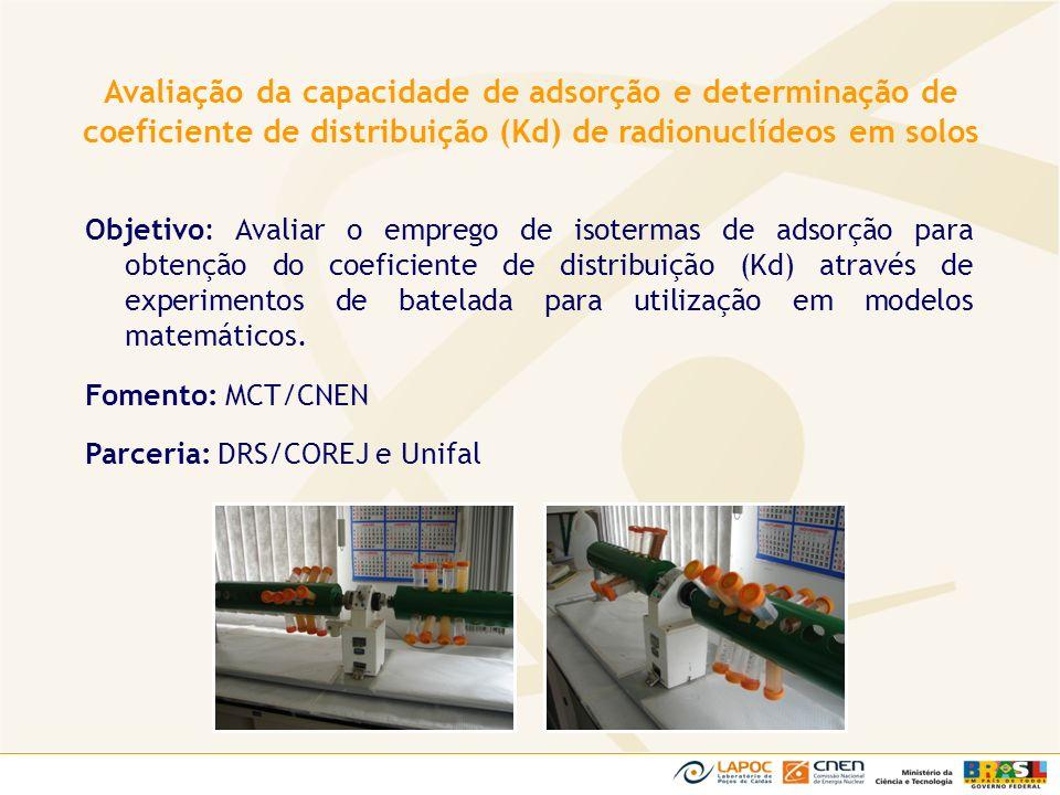 Avaliação da capacidade de adsorção e determinação de coeficiente de distribuição (Kd) de radionuclídeos em solos
