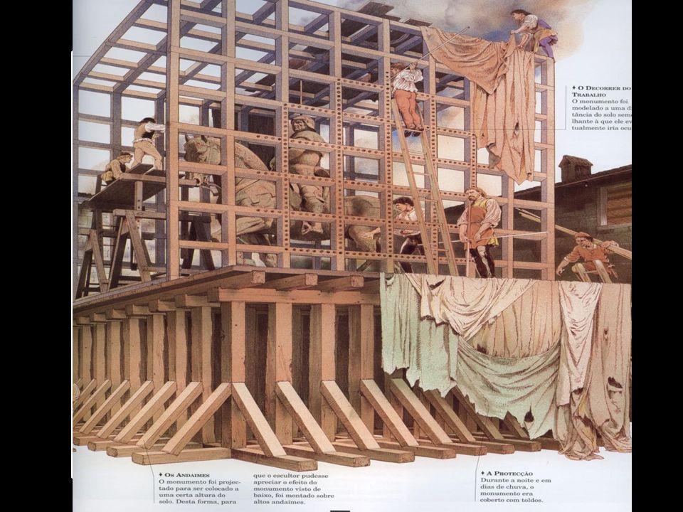Um dos grandes feitos de Leonardo, foi os estudos e o modelo que fez para uma estátua equestre de vinte e três metros de altura e pesando quase 80 toneladas.
