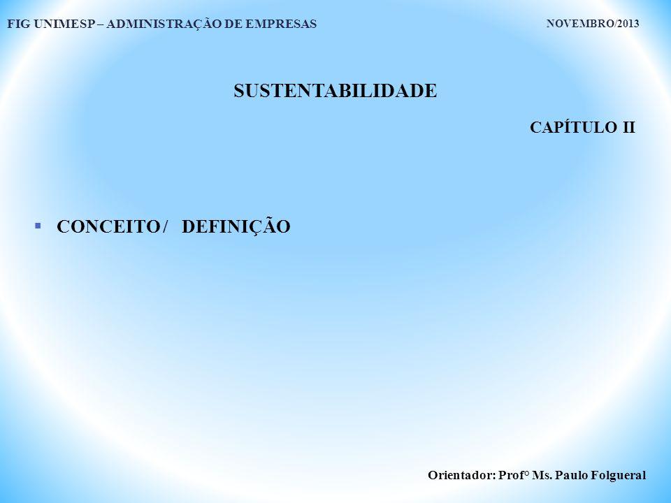 SUSTENTABILIDADE CONCEITO / DEFINIÇÃO CAPÍTULO II