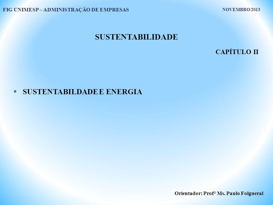 SUSTENTABILIDADE SUSTENTABILDADE E ENERGIA CAPÍTULO II