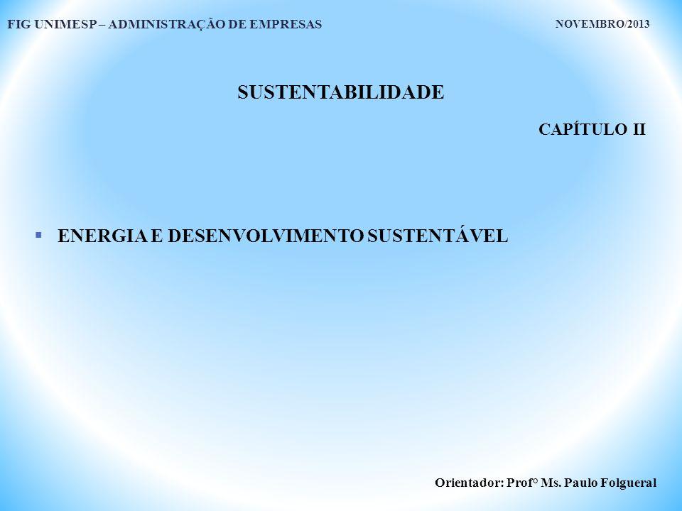 SUSTENTABILIDADE ENERGIA E DESENVOLVIMENTO SUSTENTÁVEL CAPÍTULO II