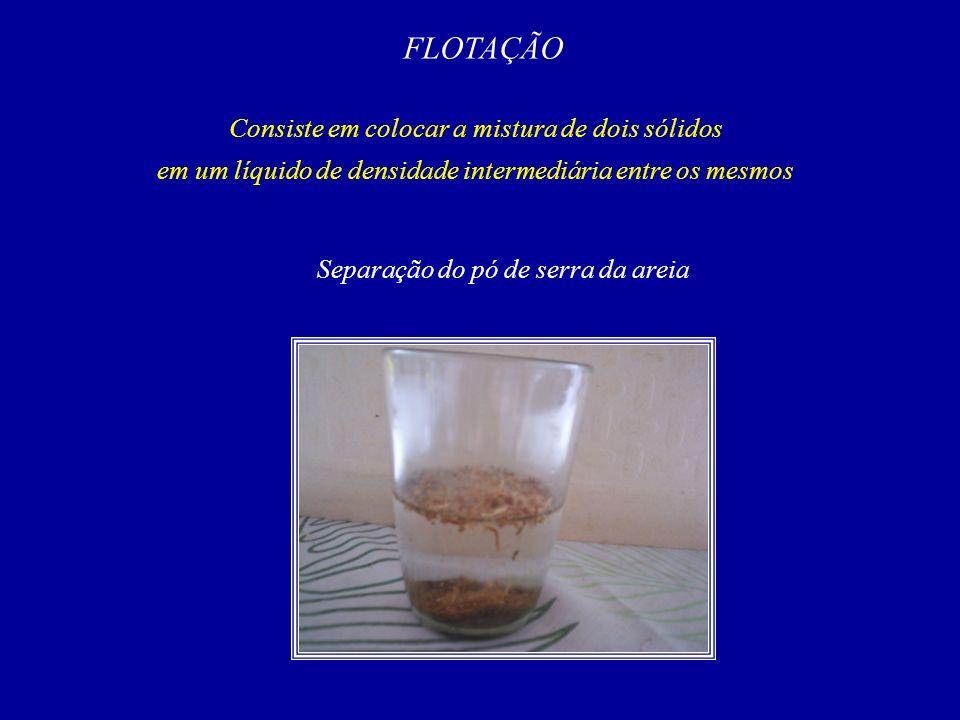 FLOTAÇÃO Consiste em colocar a mistura de dois sólidos
