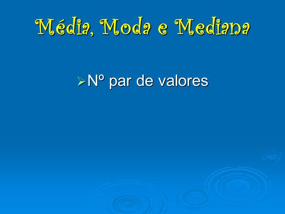 Média, Moda e Mediana Nº par de valores