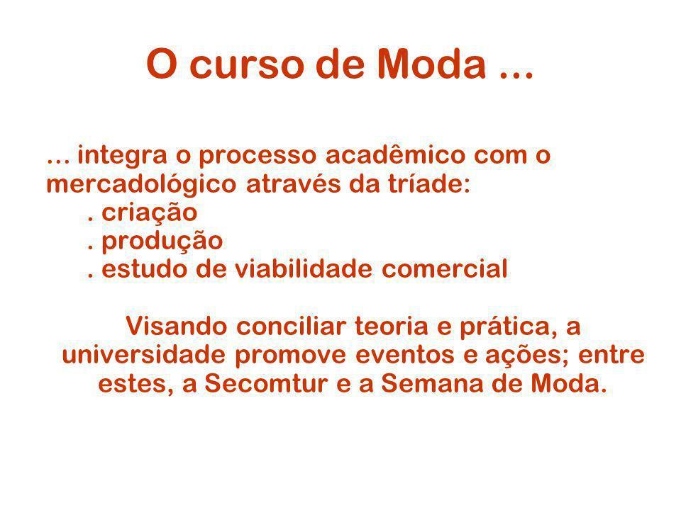O curso de Moda ... ... integra o processo acadêmico com o mercadológico através da tríade: . criação.