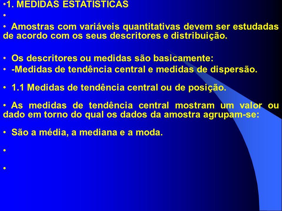 1. MEDIDAS ESTATÍSTICAS Amostras com variáveis quantitativas devem ser estudadas de acordo com os seus descritores e distribuição.