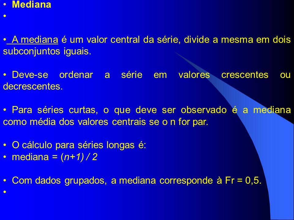 Mediana A mediana é um valor central da série, divide a mesma em dois subconjuntos iguais.