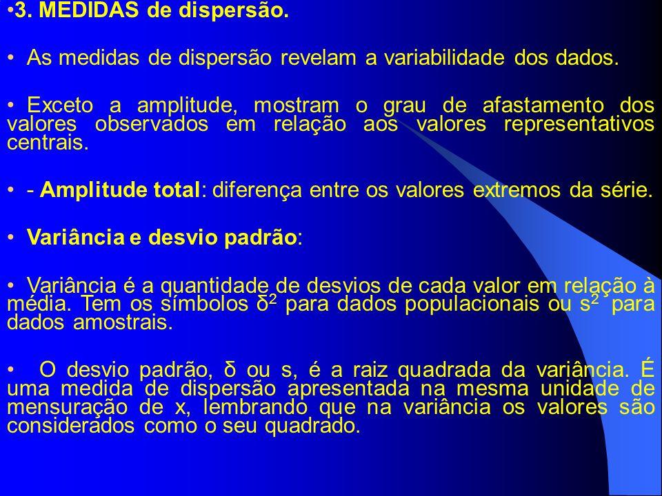 3. MEDIDAS de dispersão. As medidas de dispersão revelam a variabilidade dos dados.