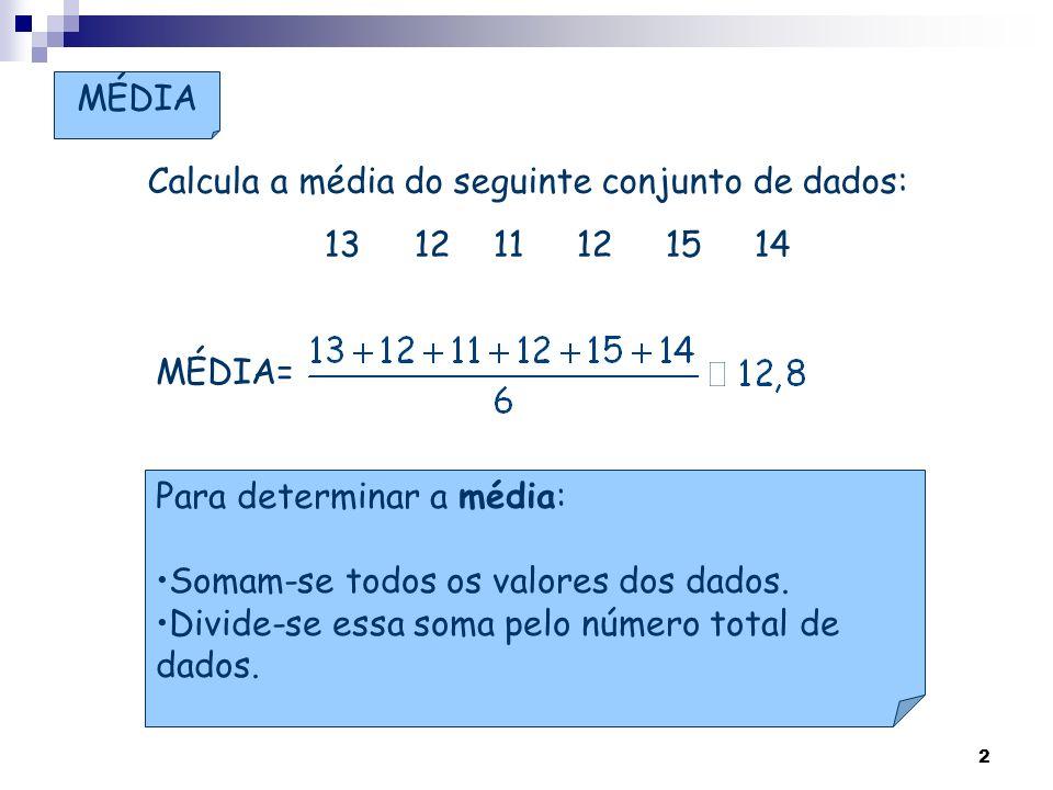 MÉDIA Calcula a média do seguinte conjunto de dados: 13 12 11 12 15 14. MÉDIA=