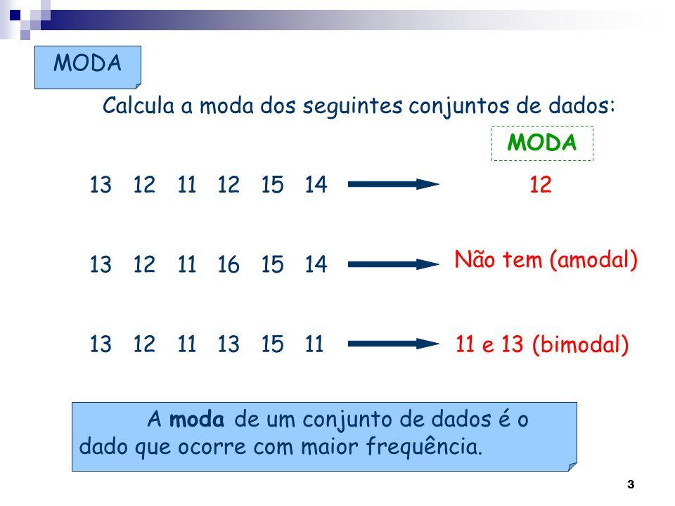 Calcula a moda dos seguintes conjuntos de dados: