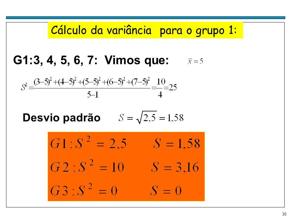 Cálculo da variância para o grupo 1: