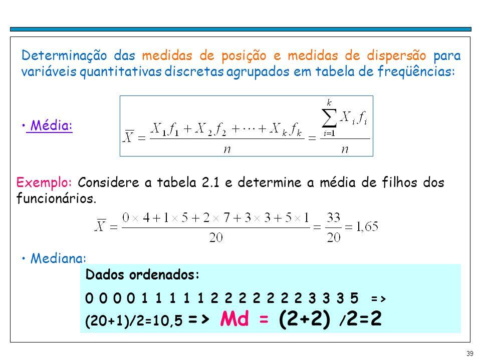 Determinação das medidas de posição e medidas de dispersão para variáveis quantitativas discretas agrupados em tabela de freqüências: