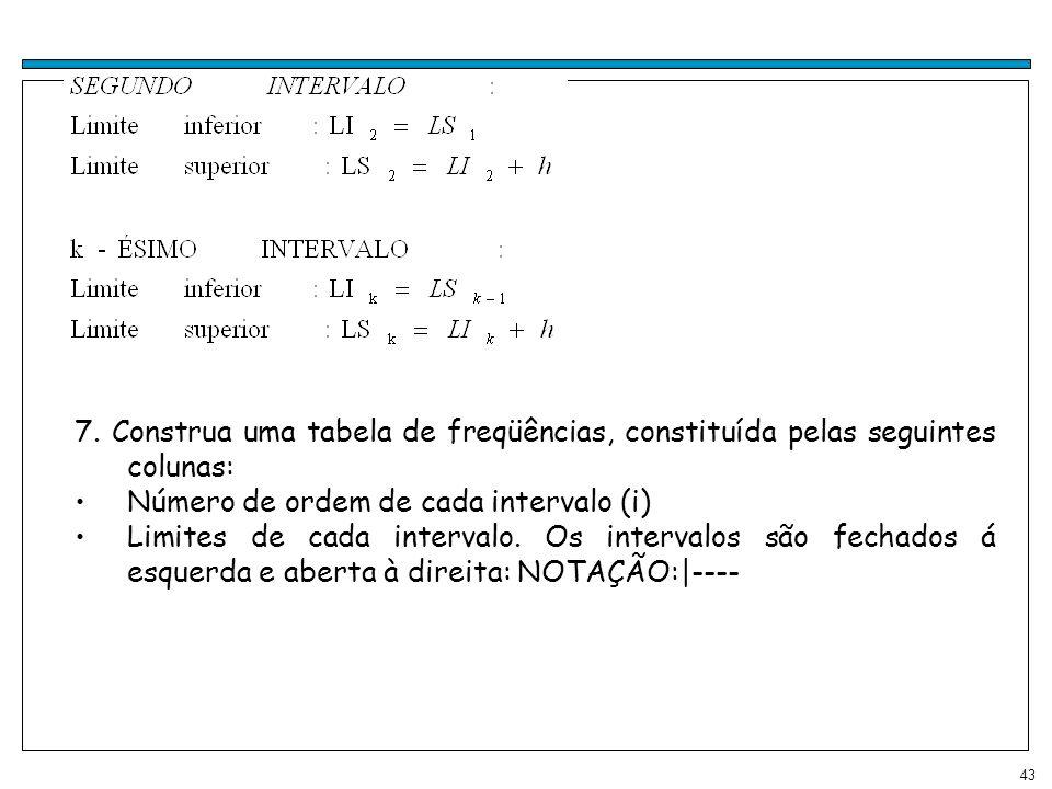 7. Construa uma tabela de freqüências, constituída pelas seguintes colunas:
