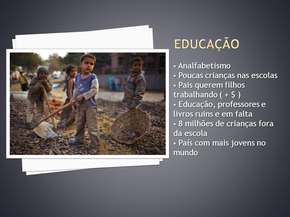 EDUCAÇÃO Analfabetismo Poucas crianças nas escolas