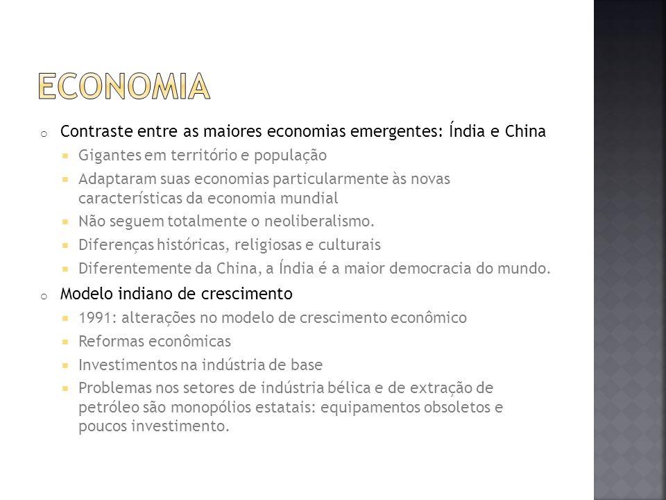 ECONOMIA Contraste entre as maiores economias emergentes: Índia e China. Gigantes em território e população.