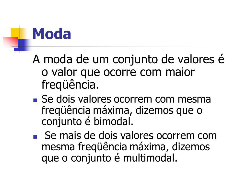 Moda A moda de um conjunto de valores é o valor que ocorre com maior freqüência.
