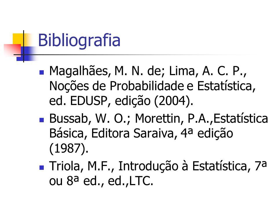 Bibliografia Magalhães, M. N. de; Lima, A. C. P., Noções de Probabilidade e Estatística, ed. EDUSP, edição (2004).