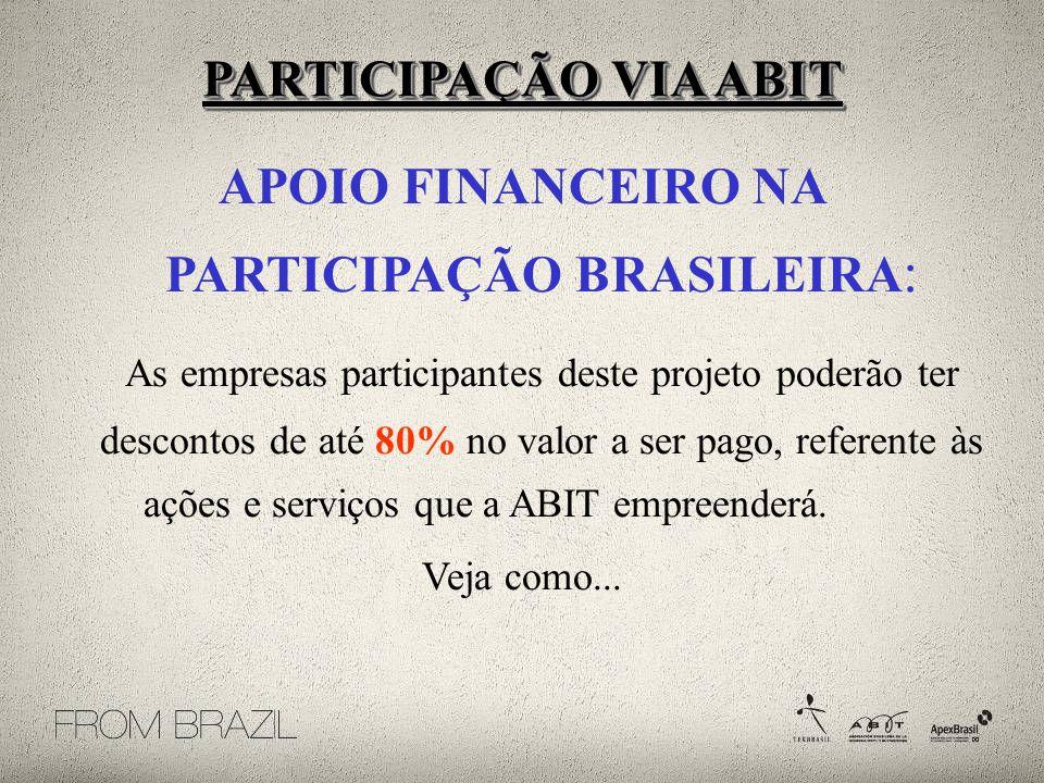 APOIO FINANCEIRO NA PARTICIPAÇÃO BRASILEIRA: