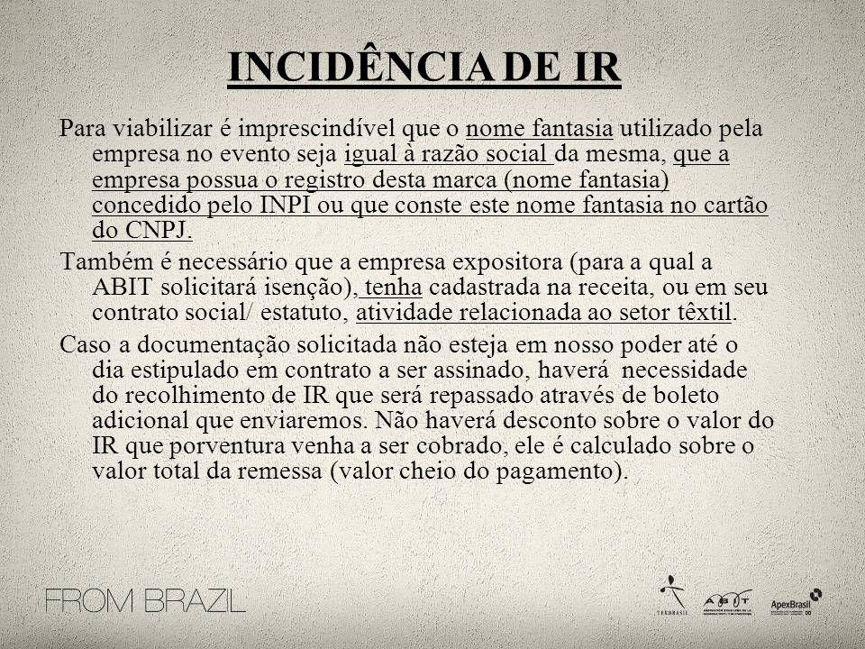 INCIDÊNCIA DE IR