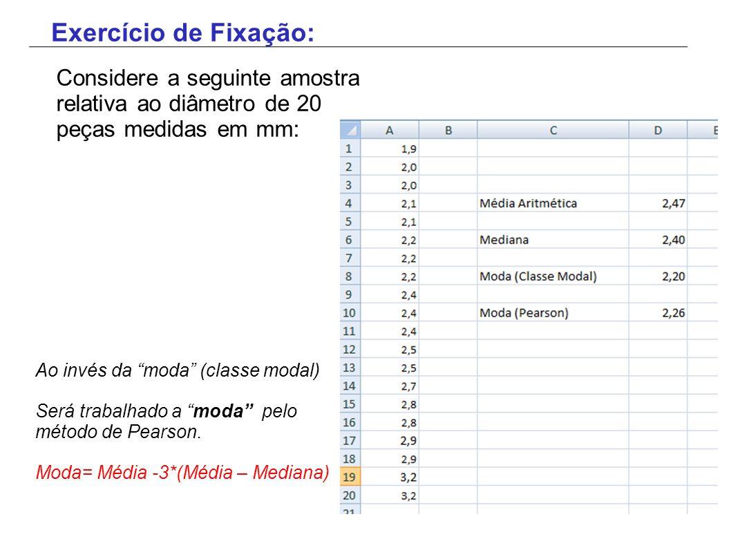 Exercício de Fixação: Considere a seguinte amostra relativa ao diâmetro de 20 peças medidas em mm: Ao invés da moda (classe modal)
