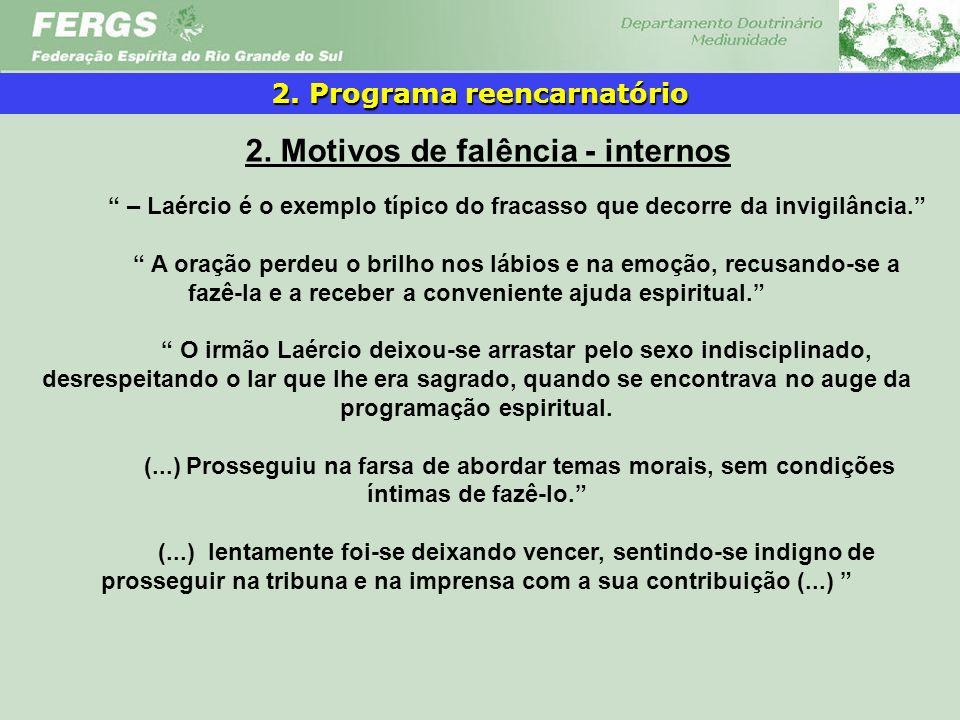 2. Programa reencarnatório 2. Motivos de falência - internos