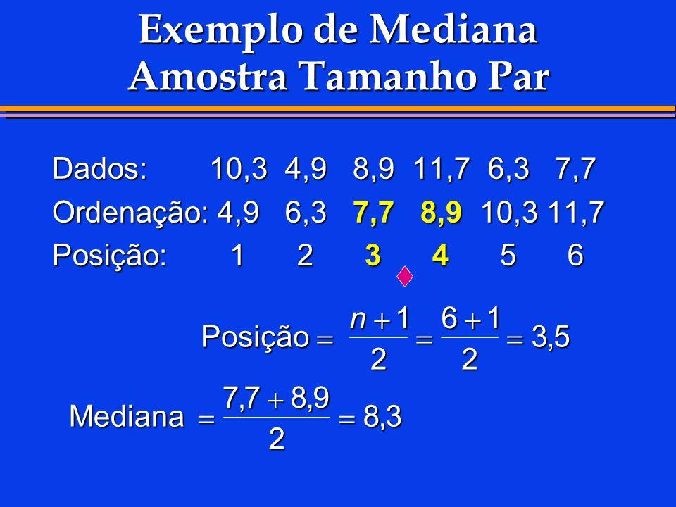 Exemplo de Mediana Amostra Tamanho Par
