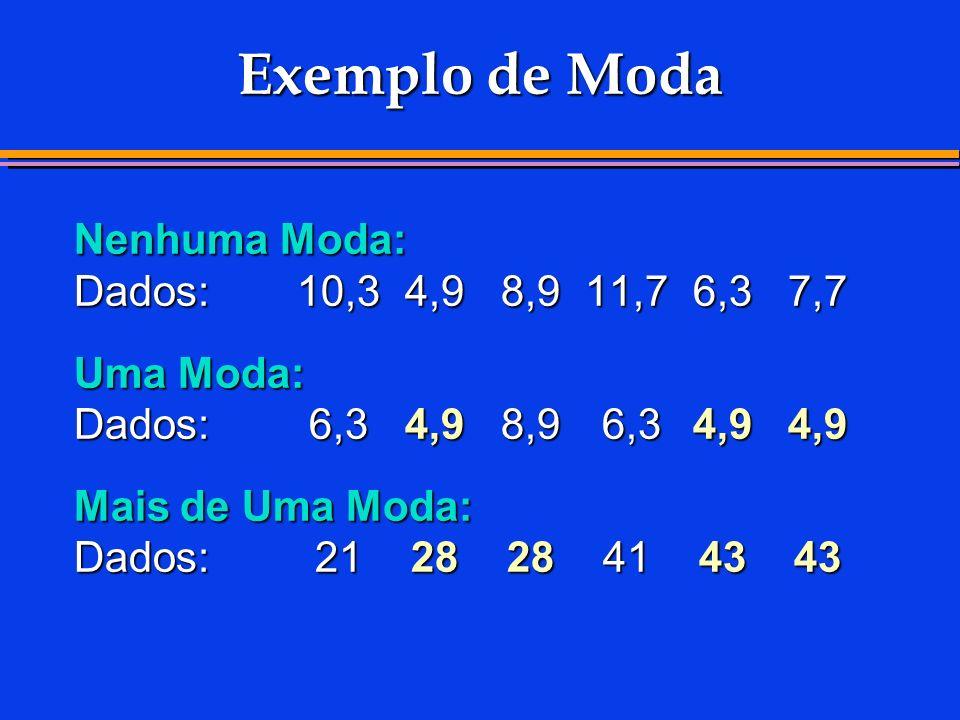 Exemplo de Moda Nenhuma Moda: Dados: 10,3 4,9 8,9 11,7 6,3 7,7