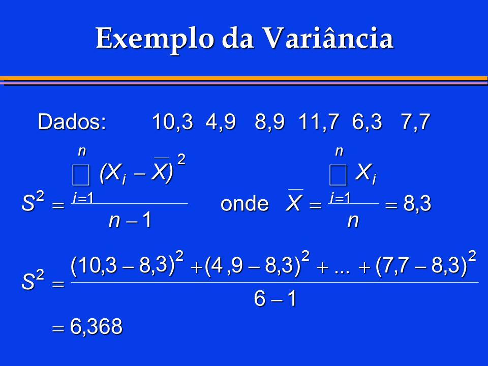 å å Exemplo da Variância Dados: 10,3 4,9 8,9 11,7 6,3 7,7 (X - X) X S