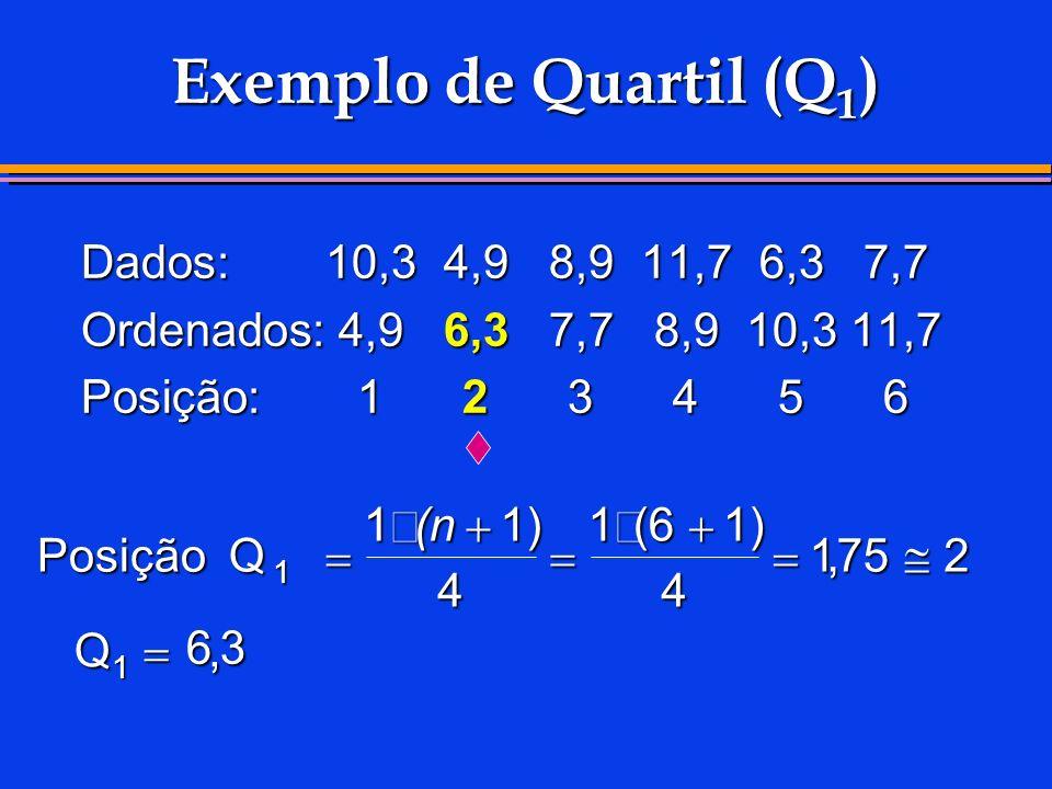 Exemplo de Quartil (Q1) Dados: 10,3 4,9 8,9 11,7 6,3 7,7