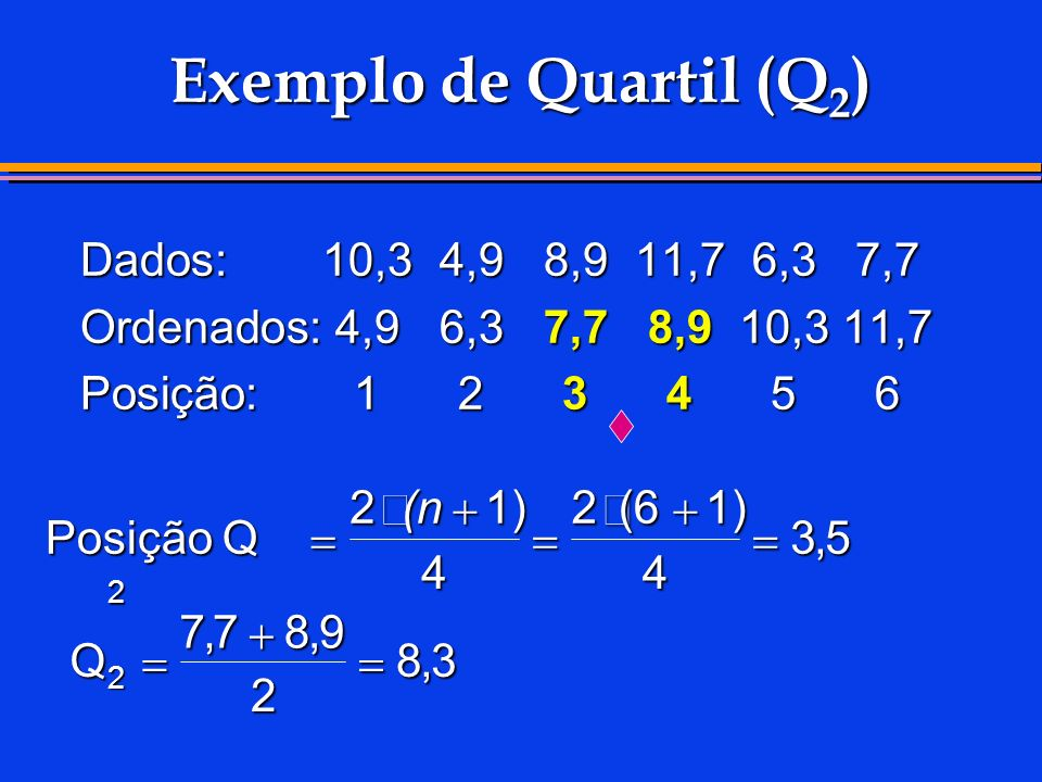 Exemplo de Quartil (Q2) Dados: 10,3 4,9 8,9 11,7 6,3 7,7