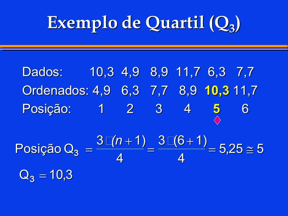 Exemplo de Quartil (Q3) Dados: 10,3 4,9 8,9 11,7 6,3 7,7