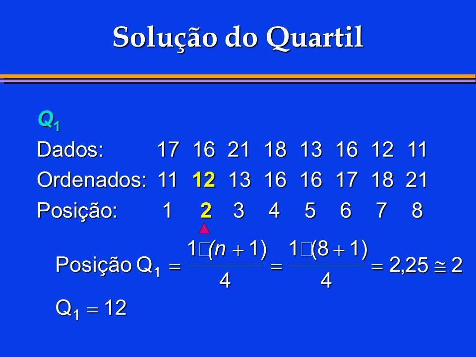 Solução do Quartil Q1 Dados: 17 16 21 18 13 16 12 11
