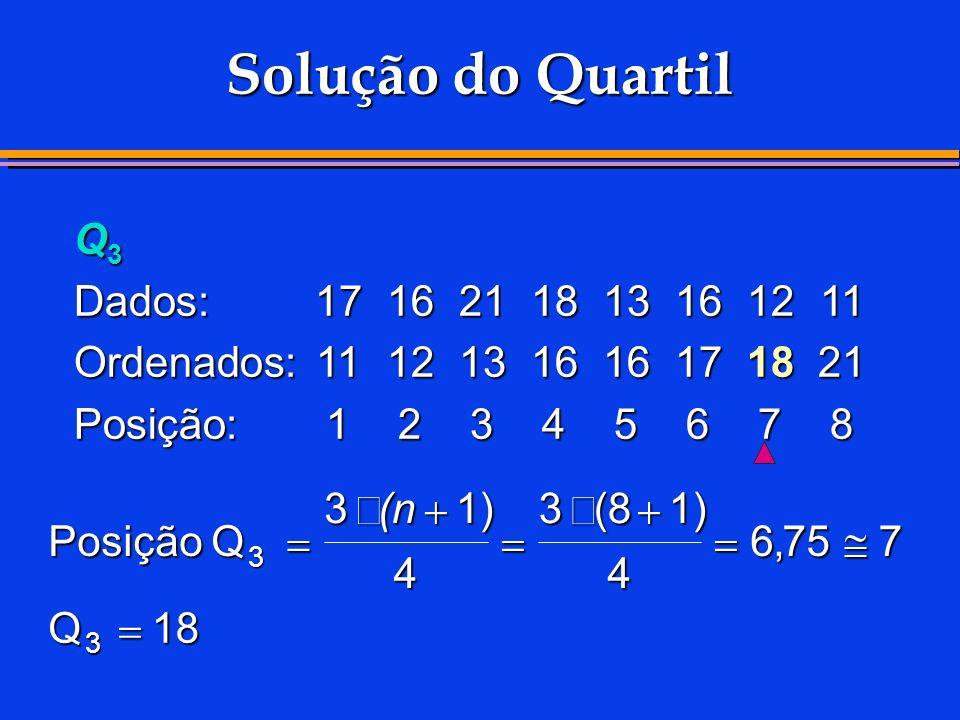 Solução do Quartil Q3 Dados: 17 16 21 18 13 16 12 11