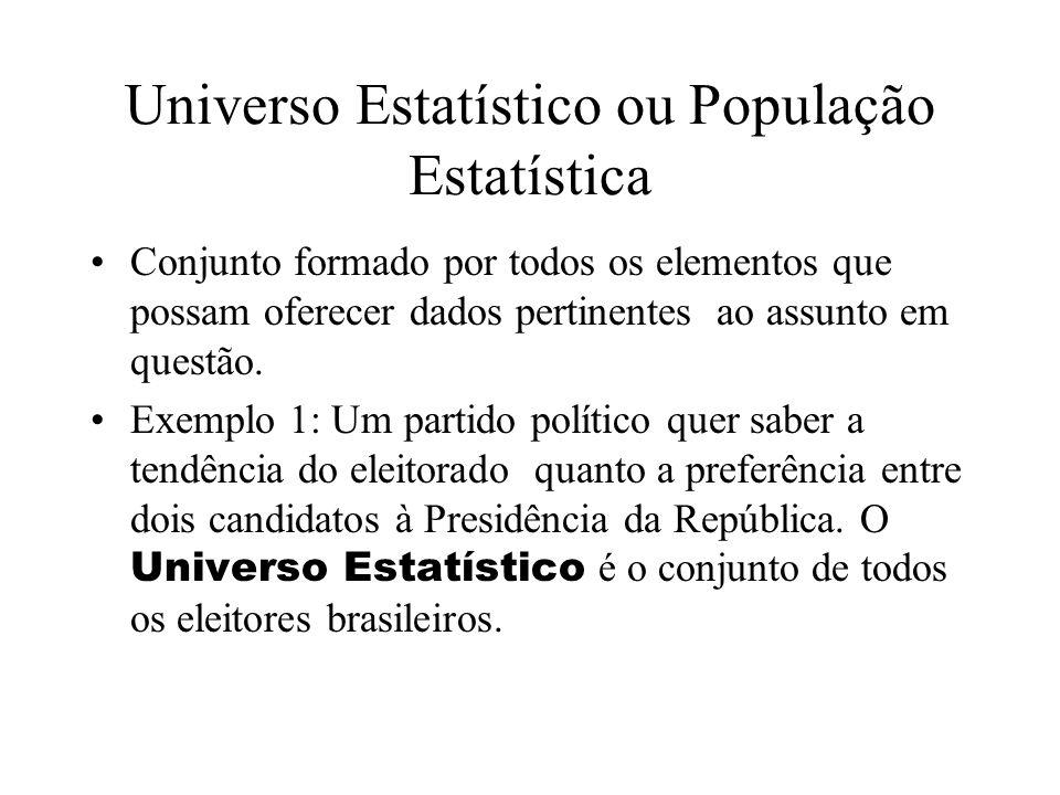 Universo Estatístico ou População Estatística