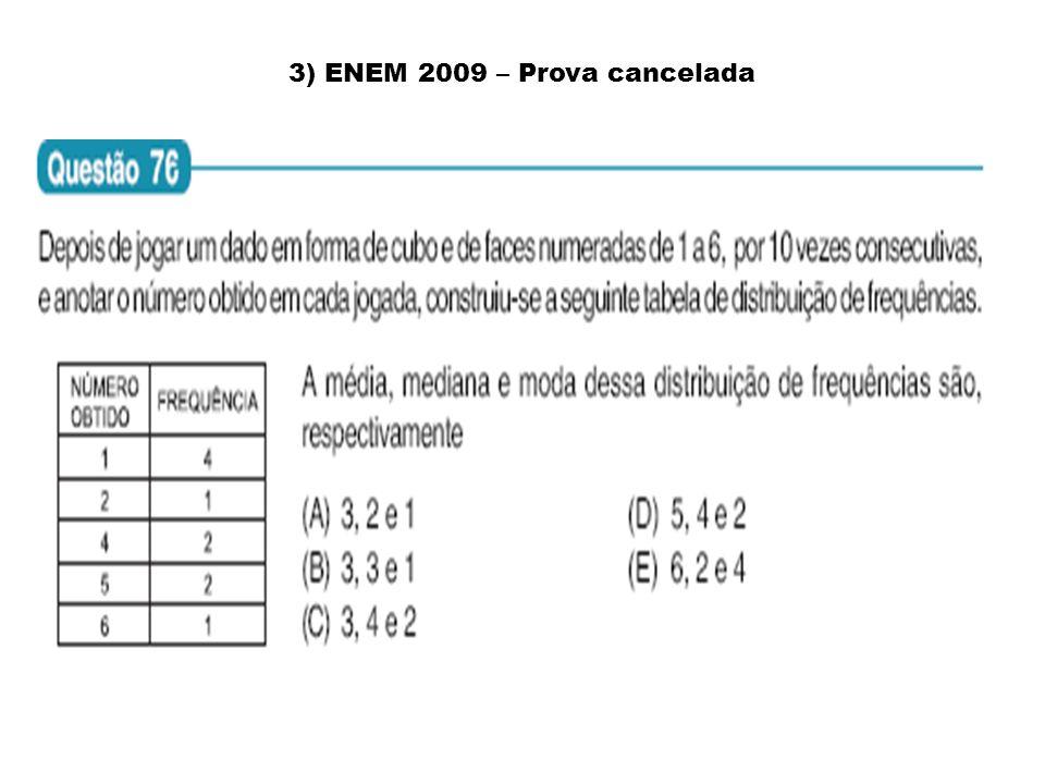 3) ENEM 2009 – Prova cancelada
