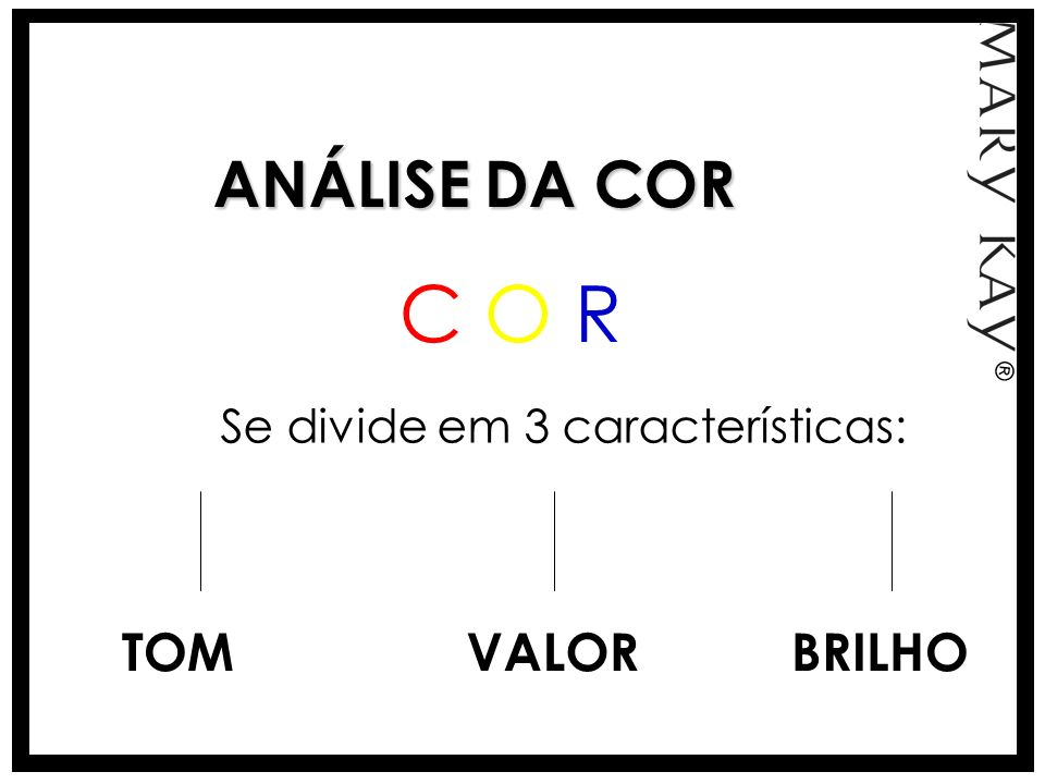 C O R ANÁLISE DA COR TOM VALOR BRILHO Se divide em 3 características: