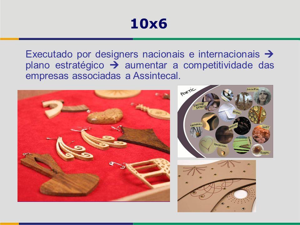 10x6 Executado por designers nacionais e internacionais  plano estratégico  aumentar a competitividade das empresas associadas a Assintecal.