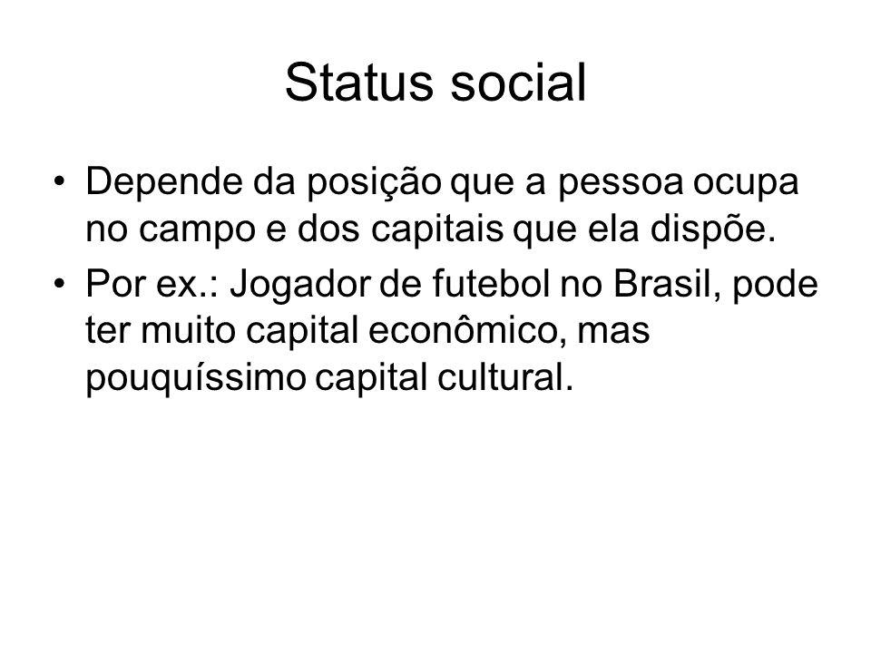 Status social Depende da posição que a pessoa ocupa no campo e dos capitais que ela dispõe.