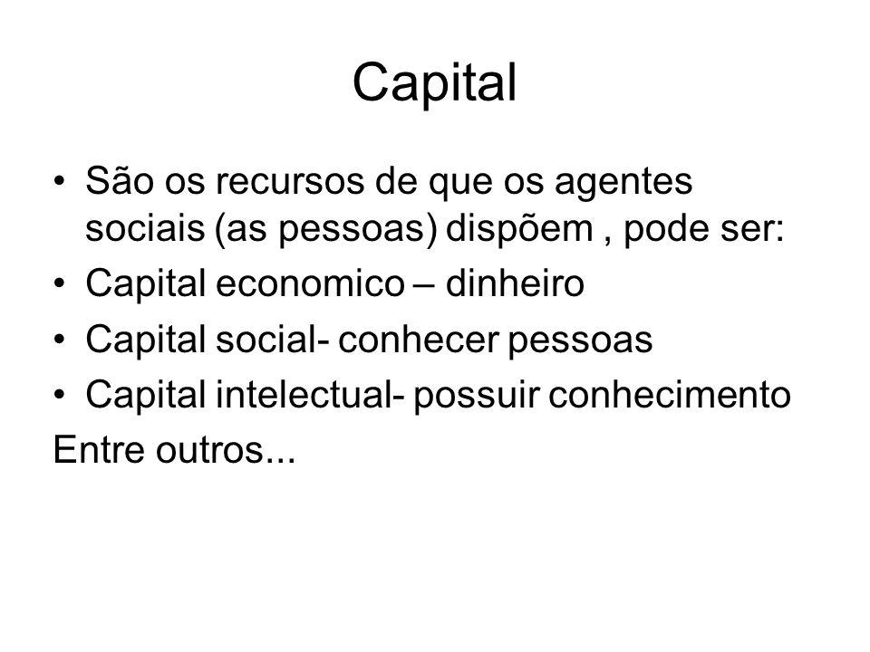 Capital São os recursos de que os agentes sociais (as pessoas) dispõem , pode ser: Capital economico – dinheiro.