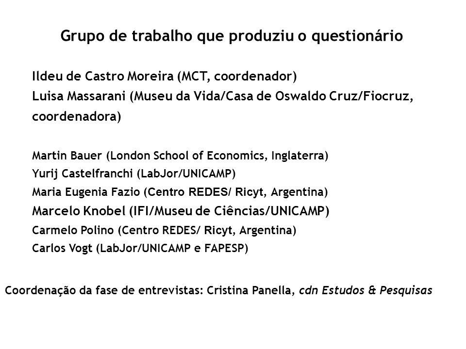 Grupo de trabalho que produziu o questionário