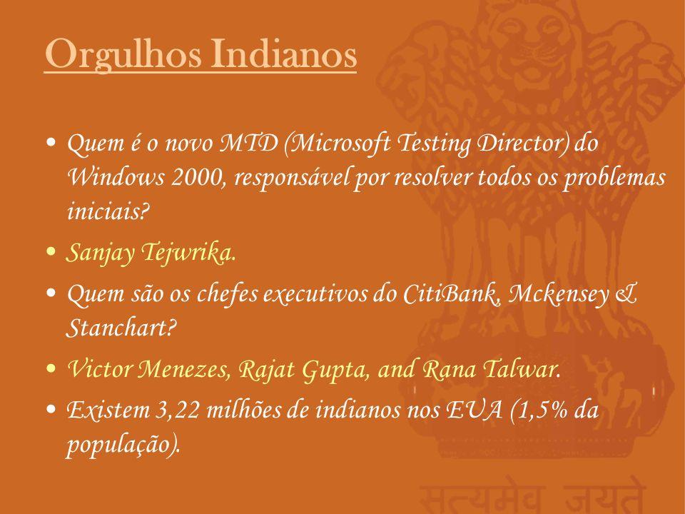 Orgulhos Indianos Quem é o novo MTD (Microsoft Testing Director) do Windows 2000, responsável por resolver todos os problemas iniciais