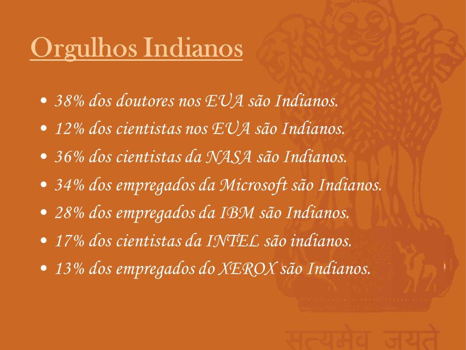 Orgulhos Indianos 38% dos doutores nos EUA são Indianos.