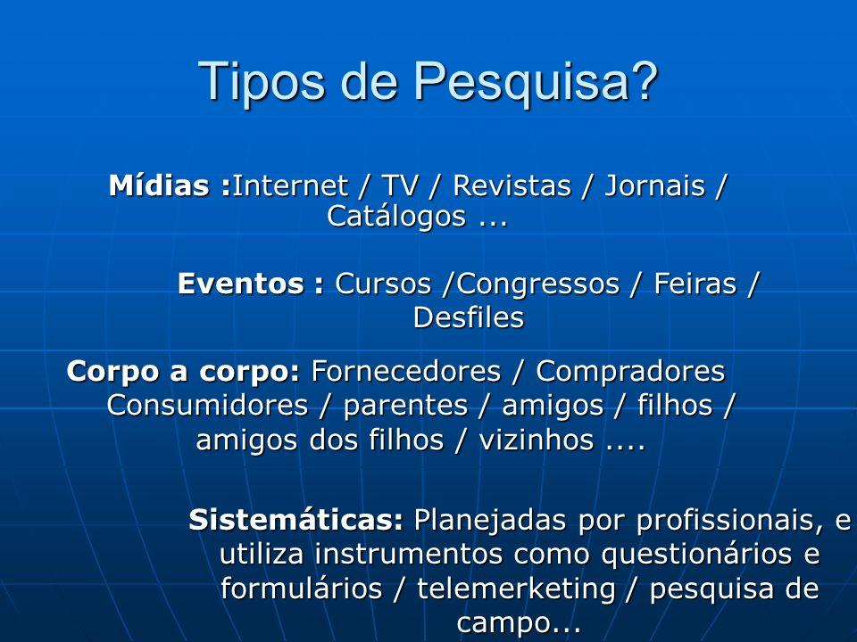 Tipos de Pesquisa Mídias :Internet / TV / Revistas / Jornais / Catálogos ... Eventos : Cursos /Congressos / Feiras / Desfiles.