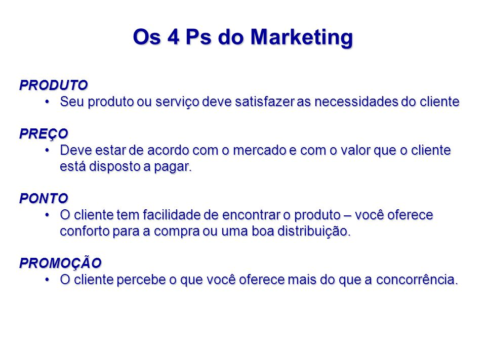 Os 4 Ps do Marketing PRODUTO