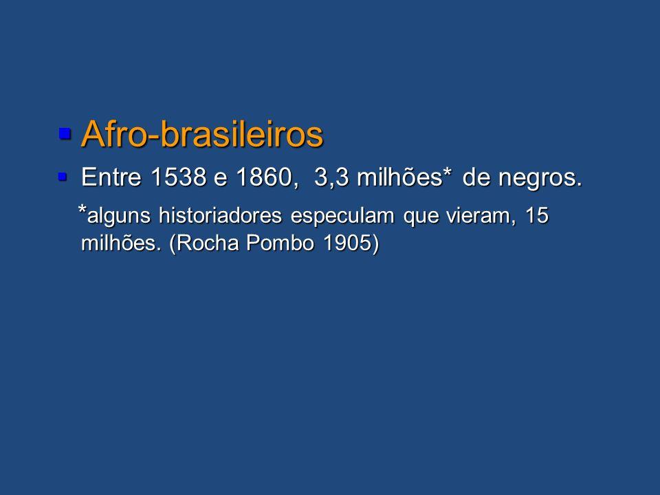 Afro-brasileiros Entre 1538 e 1860, 3,3 milhões* de negros.