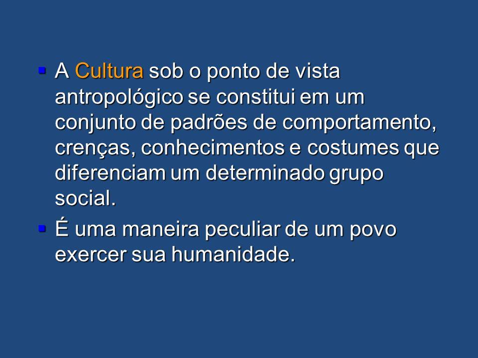 A Cultura sob o ponto de vista antropológico se constitui em um conjunto de padrões de comportamento, crenças, conhecimentos e costumes que diferenciam um determinado grupo social.