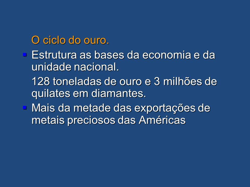 O ciclo do ouro. Estrutura as bases da economia e da unidade nacional. 128 toneladas de ouro e 3 milhões de quilates em diamantes.