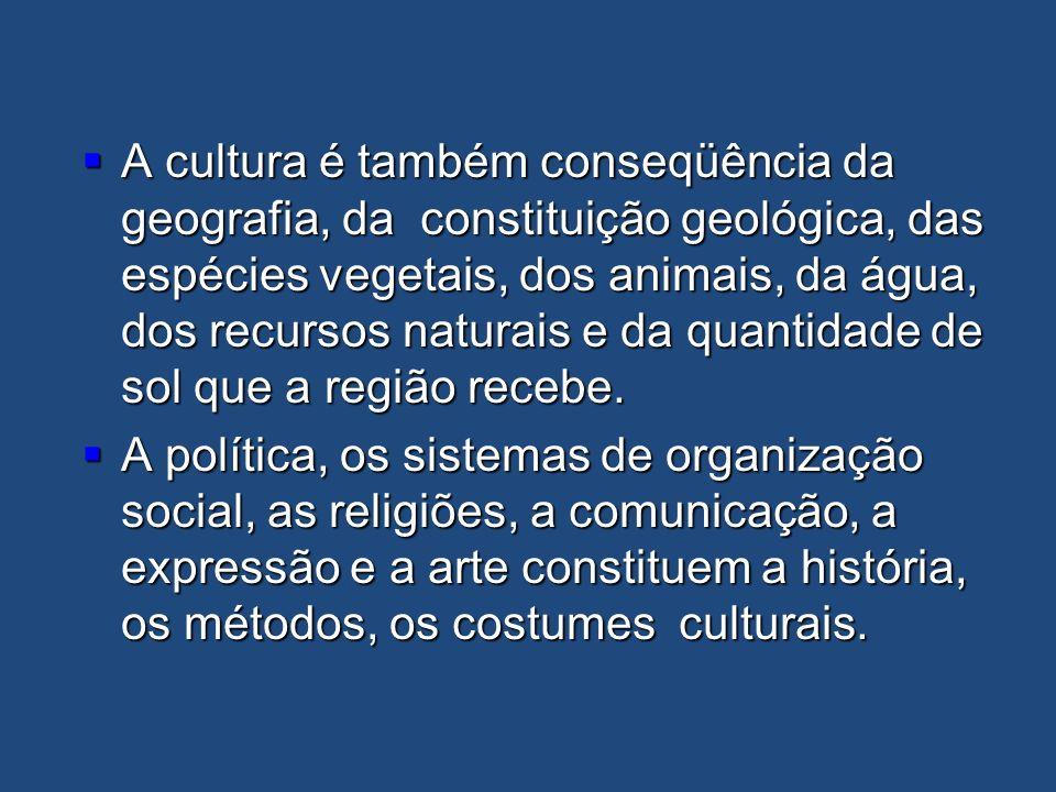 A cultura é também conseqüência da geografia, da constituição geológica, das espécies vegetais, dos animais, da água, dos recursos naturais e da quantidade de sol que a região recebe.