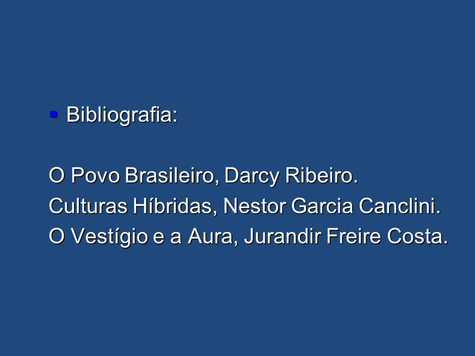Bibliografia: O Povo Brasileiro, Darcy Ribeiro. Culturas Híbridas, Nestor Garcia Canclini.