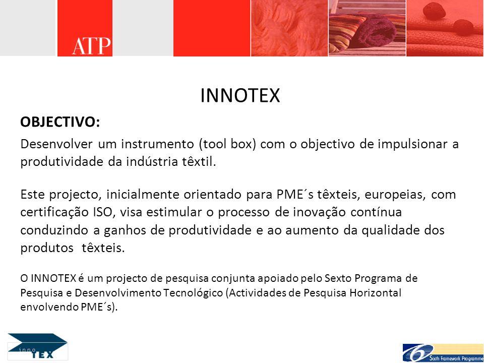 INNOTEX OBJECTIVO: Desenvolver um instrumento (tool box) com o objectivo de impulsionar a produtividade da indústria têxtil.